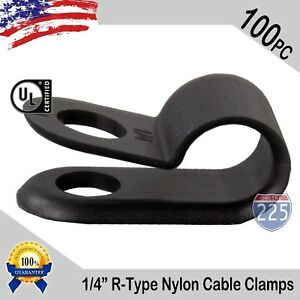 100 Pcs Pack 1 4 Inch R type Cable Clamps Nylon Black Hose Wire Electrical Uv