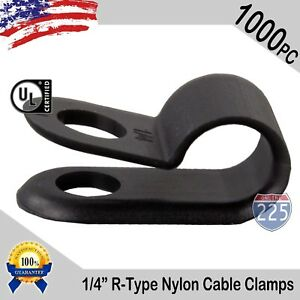 1000 Pcs Pack 1 4 Inch R type Cable Clamps Nylon Black Hose Wire Electrical Uv