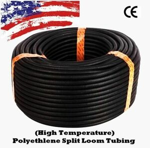 100 Ft 1 4 Split Wire Loom Conduit Polyethylene Tubing Black Color Sleeve Tube