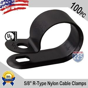 100 Pcs Pack 5 8 Inch R type Cable Clamps Nylon Black Hose Wire Electrical Uv