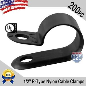 200 Pcs Pack 1 2 Inch R type Cable Clamps Nylon Black Hose Wire Electrical Uv