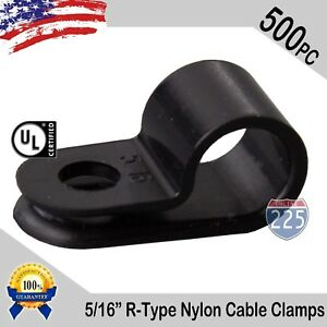 500 Pcs Pack 5 16 Inch R type Cable Clamps Nylon Black Hose Wire Electrical Uv