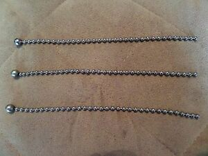 New 3 Silver Bead Chains For Antique Vintage Art Deco Light Fixture Glass Shade