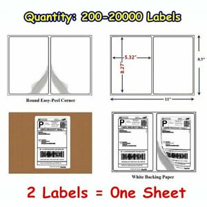 200 20000 8 5x5 5 Round Corner Shipping Label Half Sheet Self Adhesive Wholesale