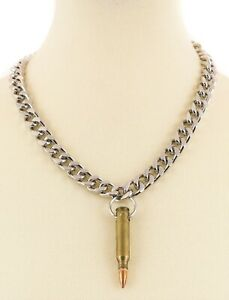 Rifle Bullet & Casing Necklace Diamond Cut Chain Real .223 Brass Copper  Bullet
