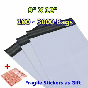 100 3000 9x12 Poly Mailer Mailing Envelopes Self Seal Plastic Bags Free Shipping