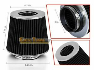 3 Short Ram Cold Air Intake Filter Round Cone Universal Black For Buick 3