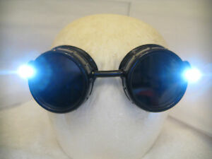 Pro Steampunk Safety Goggles Black Industrial Lab Welding Glasses Dual Led