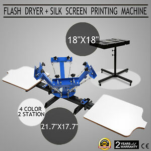 4 Color Screen Printing 2 Station 18 X 18 Flash Dryer Cutting Printer Control