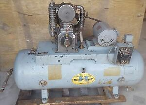 80 Gal Horizontal 2 Stage Twin Cylinder 5 Hp Used Compressor 3 Phase
