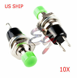 Green 10pcs 7mm Mini Momentary On off Lockless Micro Push Button Spst Switch