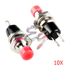 Red 10pcs 7mm Mini Momentary On off Lockless Micro Push Button Spst Switch