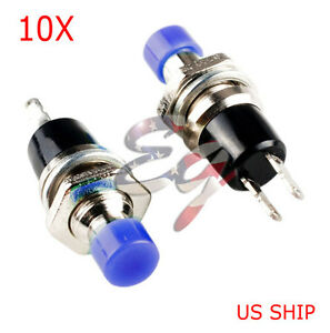 Blue 10pcs 7mm Mini Momentary On off Lockless Micro Push Button Spst Switch