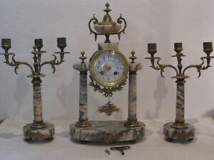 Antique French Solid Marble Ormolu 8 Day Striking Portico Mantle Clock