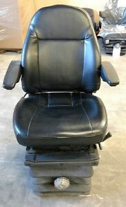 Black Vinyl Mechanical Suspension Excavator Seat Small Tear In Front Of Seat