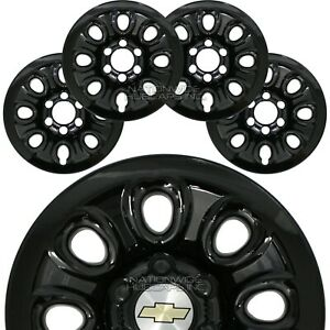 Set Of 4 Chevy 6 Lug 17 Black Wheel Skins Full Rim Covers Center Hub Caps New
