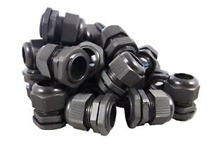 Pg21 Black Nylon Waterproof Strain Relief Cord Grip Cable Gland 13 18mm 100pcs