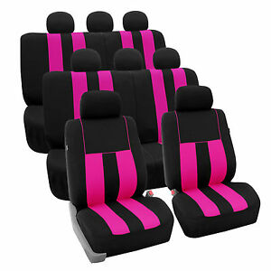 Pink 3row Suv Split Bench Car Seat Covers Full Set Car Auto