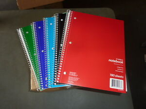Case Of 12 Spiral Notebook College Ruled 5 Subject 180 Sheets Assorted Colors
