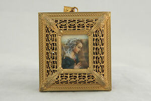Antique Bronze Dore Miniature Hand Painted Portrait Madonna Reuge Music Box