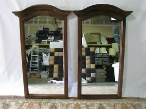 Pair Vintage Ethan Allen Antiqued Pine Old Tavern Bonnet Top Mirrors 50 Tall
