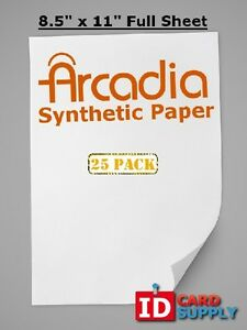 Arcadia Synthetic Paper 8 5 X 11 Sheet For Any Home Printer Pack Of 25
