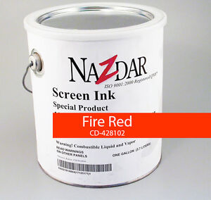 Nazdar Graphic Screenprint Silkscreening Ink fire Red