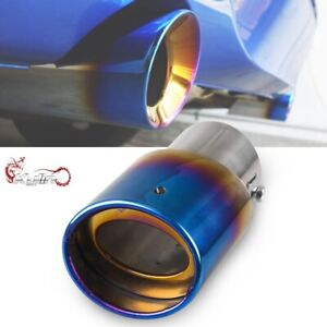Burnt Blue Stainless Steel Car Oval Rear Exhaust Pipe Tail Muffler Modification