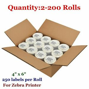 2 200 Rolls 4x6 Direct Thermal Shipping Labels 250 roll Zebra Eltron 2844 Zp450