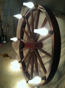 Antique Waterville Iron Works Wagon Wheel Chandelier Very Large