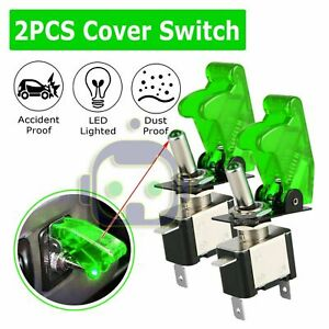 2x C1 Green Led Light Carbon Cover 12v 20a Rocker Toggle Switch Spst On Off Car
