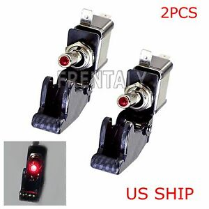 2x C1 Red Led Light Carbon Cover 12v 20a Rocker Toggle Switch Spst On Off Car