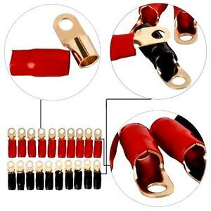 0 Gauge Gold Ring Terminal 20 Pack 1 0 Awg Wire Crimp Cable Red Black Boots 5 16