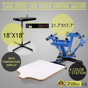4 Color 1 Station Silk Screen Printing 18x18 Flash Dryer Pressing Printer Print