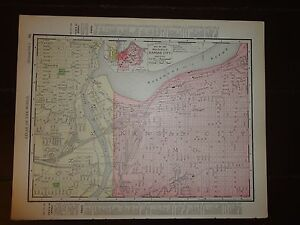 Nice 1895 Antique Colored Map Of Kansas City By Rand Mcnally Co