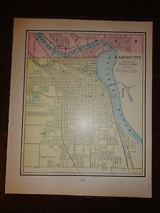 Nice 1903 Antique Colored Map Of Kansas City Pub By George F Cram Chicago Il