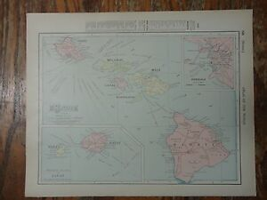 Nice Colored Map Of The Hawaiian Islands 1907 Universal Atlas Of The World