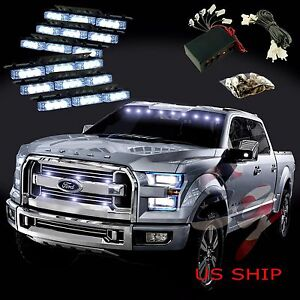 54 Led Car Truck Strobe Emergency Warning Light For Deck Dash Grill White White