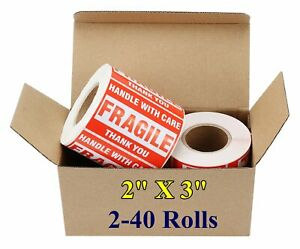 2x3 Fragile Stickers Handle With Care Thank You Shipping Mailing Labels 500 roll