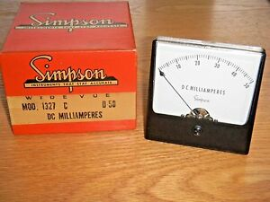 Vintage Simpson Model 1327 Panel Meter 0 50 Dc Milliamperes 3 1 2 Dia Nos