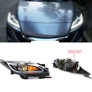 Hid Xenon Headlight Assembly Led Drl Double Light Lens For Mazda 3 2010 2013