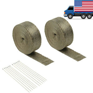 2 Rolls 2 50ft Titanium Basalt Manifold Header Exhaust Heat Wrap 12 Ties Kit