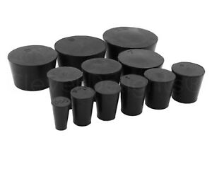 Solid Rubber Stoppers Size 000 To 14 Pick Size And Qty Black Lab Plug Cork