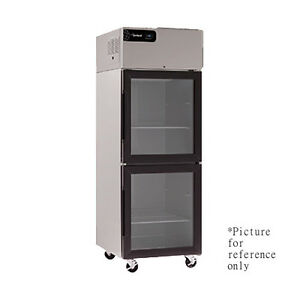 Delfield Gbr2p gh Two Section Reach in Refrigerator With Glass Half Height Door