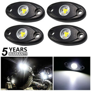 4x White Led Underglow Rock Lights Ground Effect Accent Lighting Truck Car