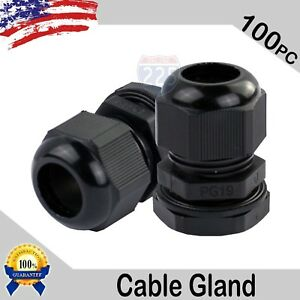 100 Pieces Pg19 Black Waterproof Connector Gland 12 15mm Dia Cable