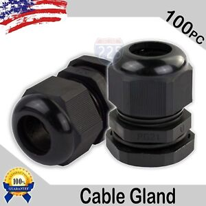 100 Pieces Pg21 Black Waterproof Connector Gland 13 18mm Dia Cable