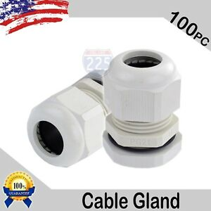 100 Pieces Pg21 White Waterproof Connector Gland 13 18mm Dia Cable