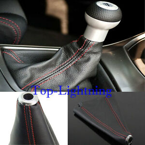 Jdm Black Real Leather Red Stitch Manual auto Gear Shift Knob Shifter Boot Cover