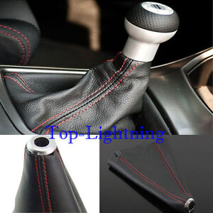 Red Stitch Black Real Leather Shifter Shift Boot Gear Cover For Acura Audi Honda